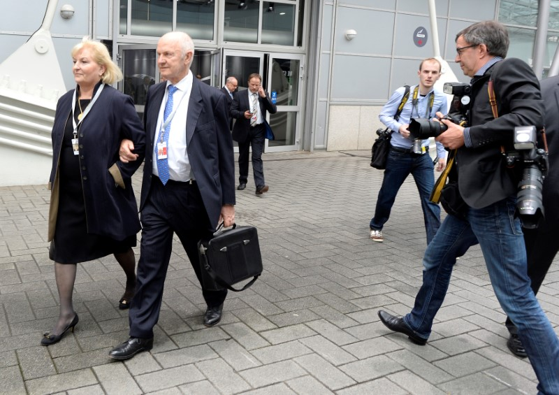 FILE PHOTO - Piech, chairman of the supervisorу board of German carmaker Volkswagen and his wife Ursula, member of the board of VW, arrive at the annual shareholders meeting in Hanover