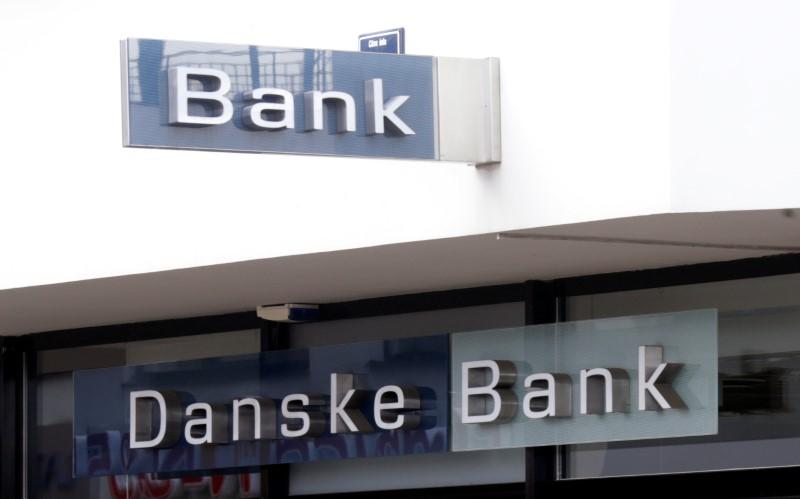 © Reuters. Danske bank logo is seen on a branch office in Riga