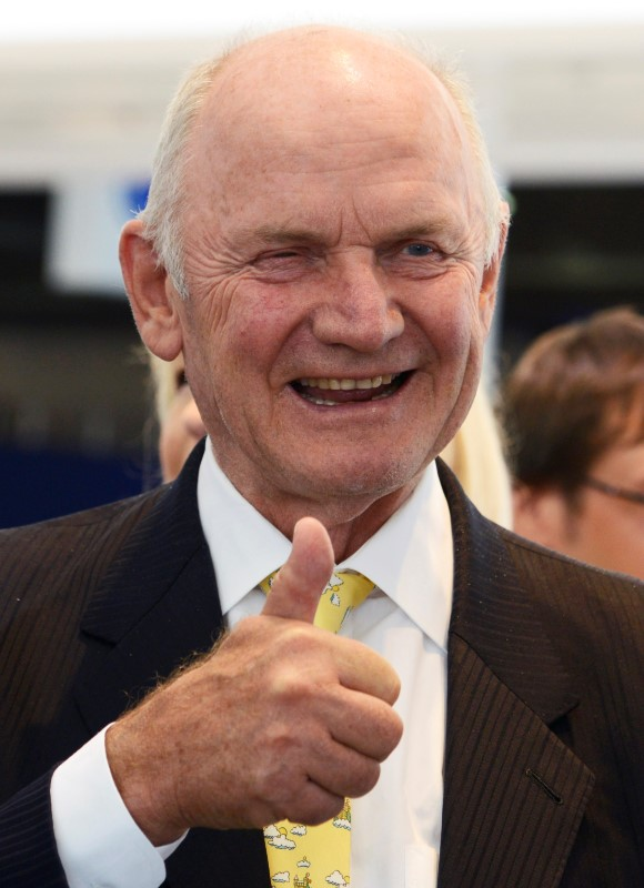 FILE PHOTO: Piech chairman of the supervisorу board of German carmaker Volkswagen gives thumbs up during his visit at the IAA truck show in Hanover