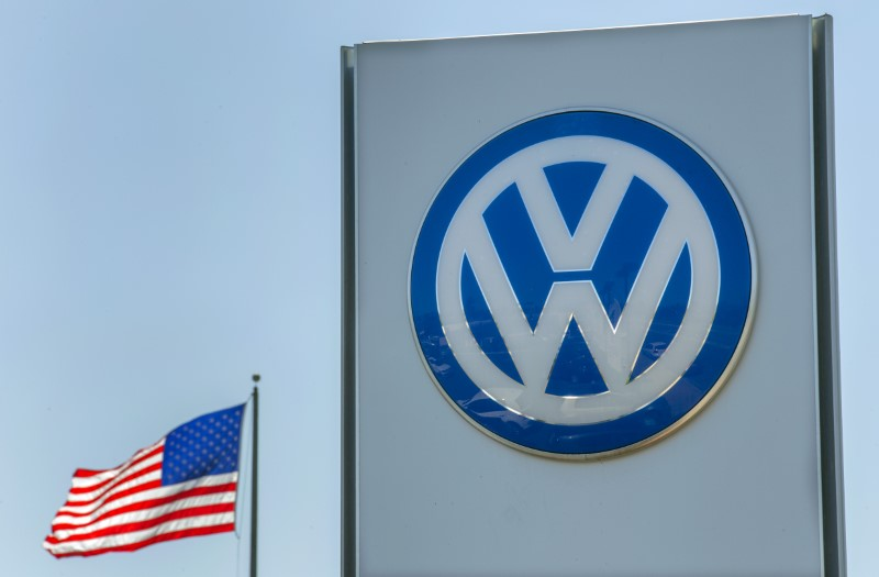 © Reuters. FILE PHOTO - An American flag flies next to a Volkswagen car dealership in San Diego