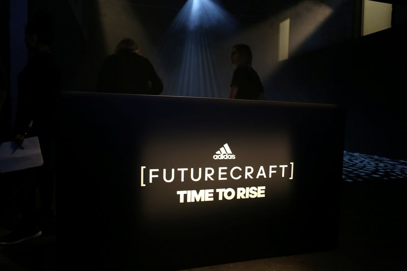 6cec9f2b5 A sign for the Adidas Futurecraft shoe is seen at the Futurecraft unveiling