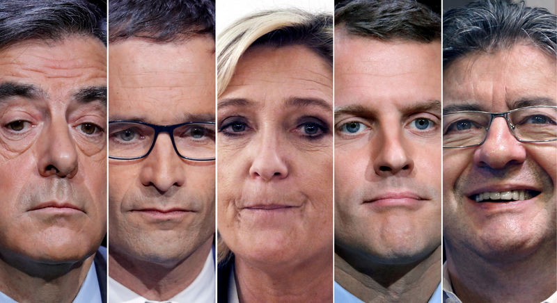 © Reuters. FILE PHOTO: A combination photo shows five candidates for the French 2017 presidential election