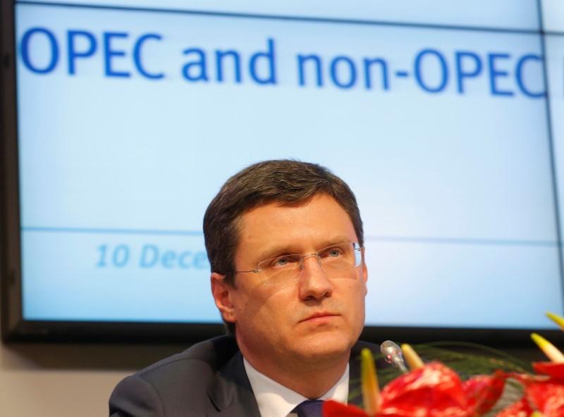 © Reuters. وزير الطاقة الروسي: وضع سوق النفط يتحسن وفائض المعروض ينكمش
