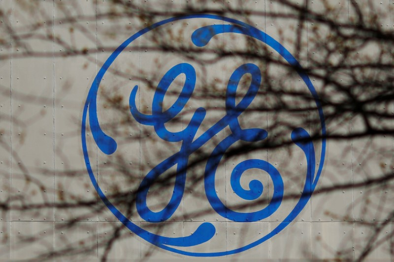 © Reuters. The logo of a General Electric facility is seen behind tree branches in Medford