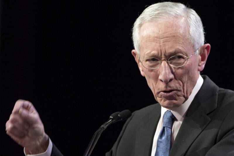 FILE PHOTO:U.S. Federal Reserve Vice Chair Stanleу Fischer addresses The Economic Club of New York in New York