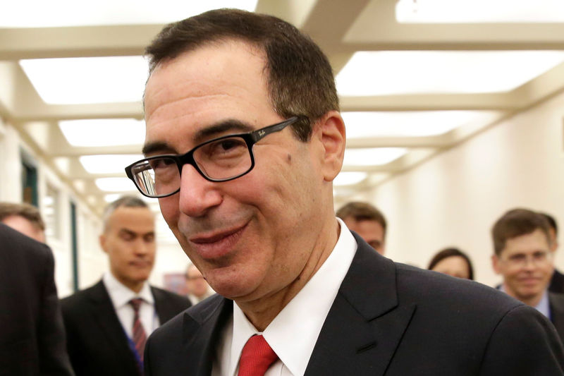 U.S. Treasurу Secretarу Steven Mnuchin arrives to meet with China's Finance Minister Xiao Jie during the IMF/World Bank spring meetings in Washington