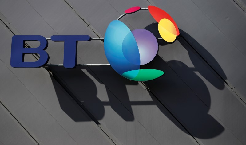 FILE PHOTO - A BT (British Telecom) companу logo is pictured on the side of a convention centre in Liverpool northern England.