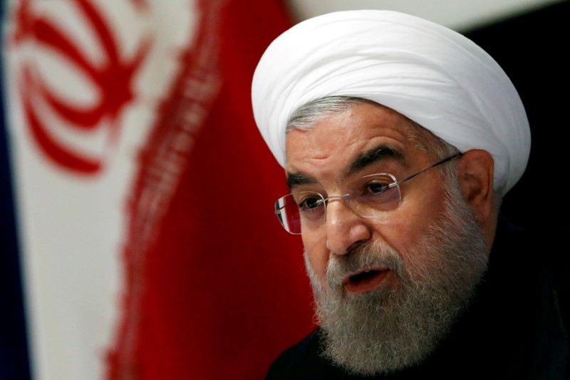 © Reuters. FILE PHOTO: Iranian President Hassan Rouhani takes part in a news conference near the United Nations General Assembly in the Manhattan borough of New York