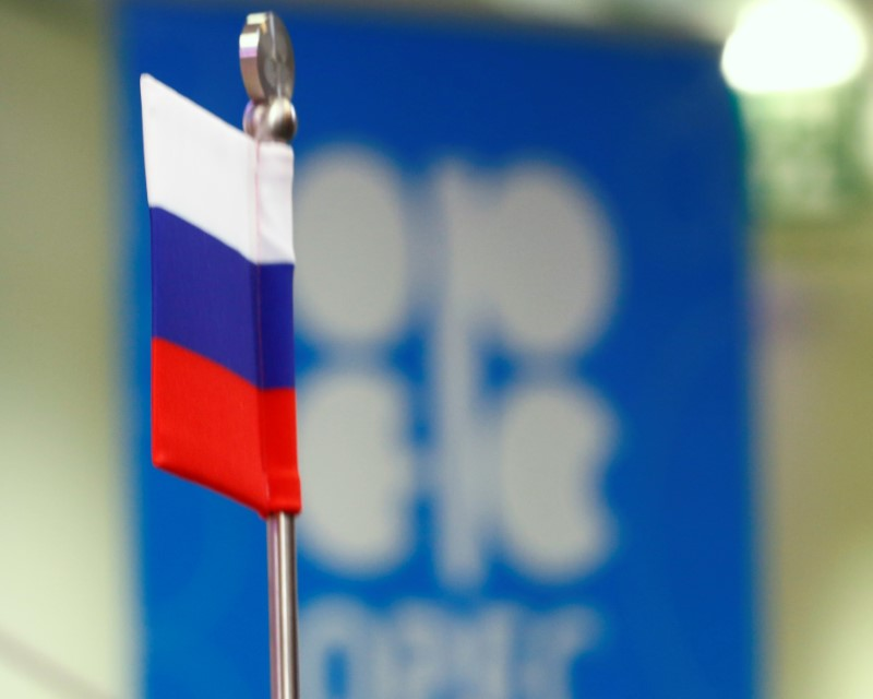 © Reuters. The Russian flag and the OPEC logo are seen before a news conference in Vienna