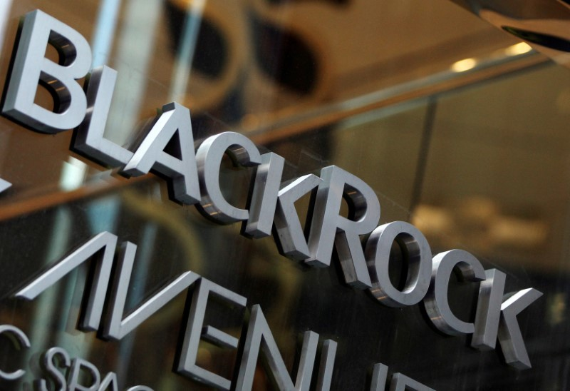 © Reuters. The BlackRock logo is seen outside of its offices in New York