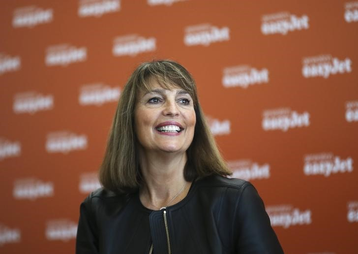 © Reuters. EasyJet CEO McCall attends a news conference during the inauguration ceremony of the company's new base at Venice airport