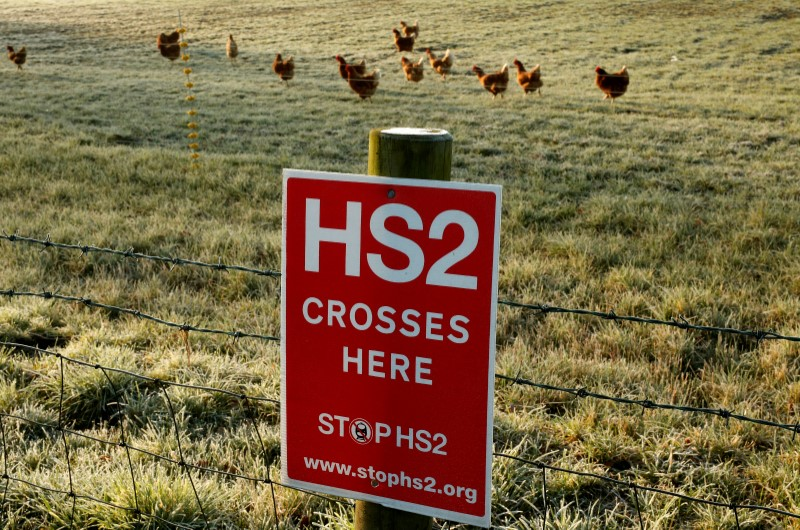 © Reuters. FILE PHOTO: A poster protesting against a proposed high speed rail project linking London with northern England (HS2) is nailed to a fence on a field near Lymm, northern England