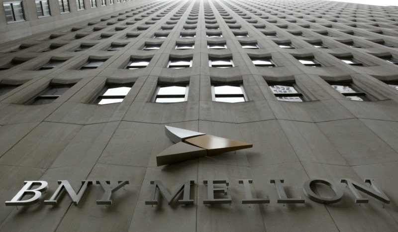 © Reuters. A BNY Mellon sign is seen on their headquarters in New York's financial district