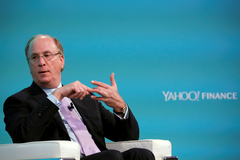 © Reuters. FILE PHOTO - Larry Fink, Chief Executive Officer of BlackRock, takes part in the Yahoo Finance All Markets Summit in New York