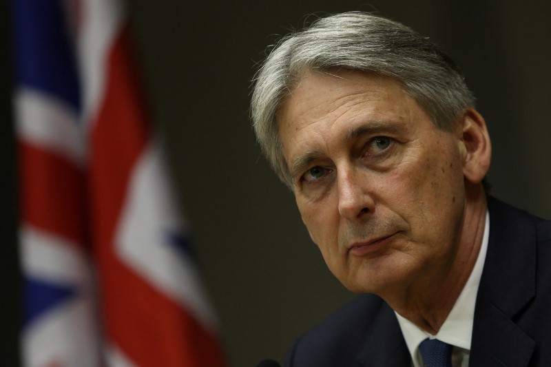 © Reuters. Britain's Chancellor of the Exchequer Hammond attends a meeting in Brasilia