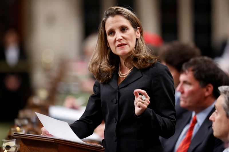 © Reuters. FILE PHOTO - Canada's Foreign Affairs Minister Freeland delivers a speech in the House of Commons in Ottawa