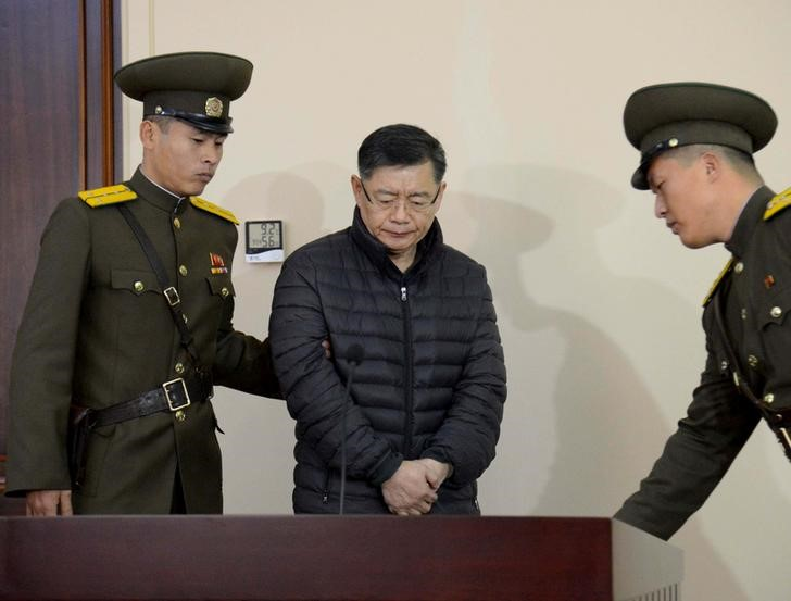 © Reuters. FILE PHOTO - Canadian pastor Hyeon Soo Lim during his trial at a North Korean court in Pyongyang