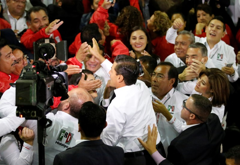 © Reuters. Mexican President Enrique Pena Nieto greets to supporters of the Institutional Revolutionary Party (PRI) during their national assembly ahead of the 2018 election at Mexico City's Palacio de los Deportes