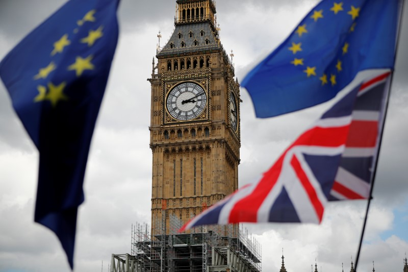 © Reuters. The Union Flag and European Union flags fly near the Elizabeth Tower, housing the Big Ben bell, during the anti-Brexit 'People's March for Europe', in Parliament Square in central London