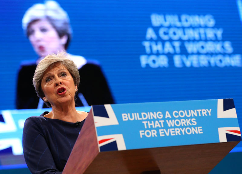 © Reuters. Britain's Prime Minister Theresa May addresses the Conservative Party conference in Manchester.