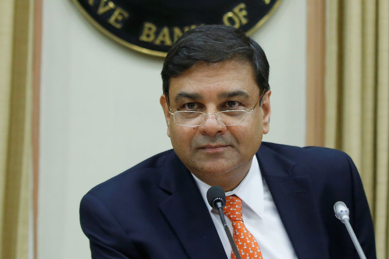© Reuters. The RBI Governor Patel attends a news conference after the bi-monthly monetary policy review in Mumbai