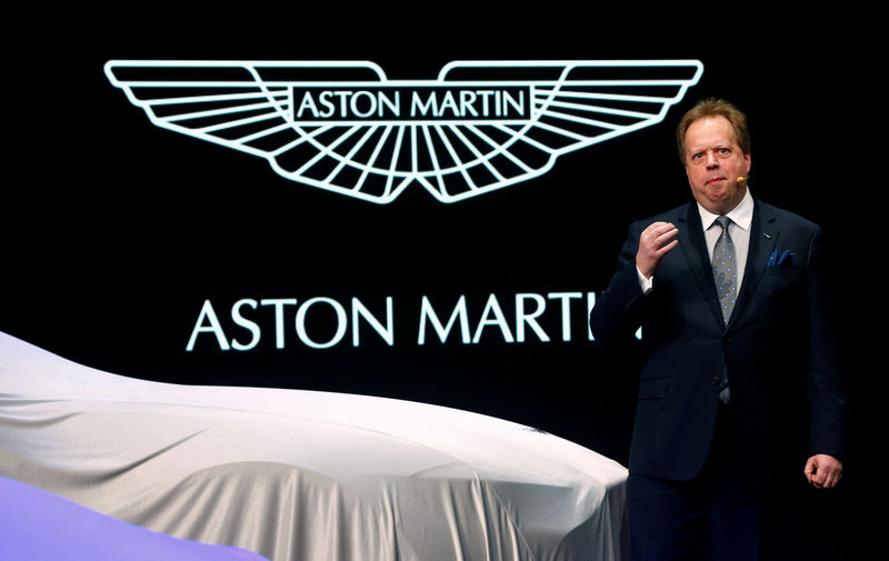 © Reuters. FILE PHOTO: Aston Martin Lagonda Ltd. CEO Palmer addresses media during the first press day ahead of the 85th International Motor Show in Geneva