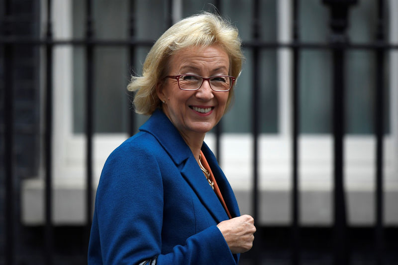 © Reuters. The Leader of the House of Commons, Andrea Leadsom, arrives in Downing Street in central London
