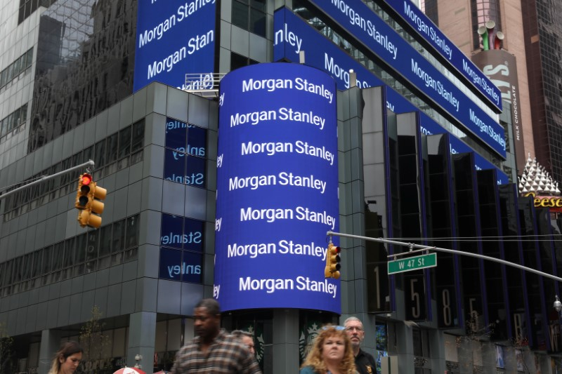 © Reuters. The corporate logo of financial firm Morgan Stanley is pictured on the company's world headquarters in New York