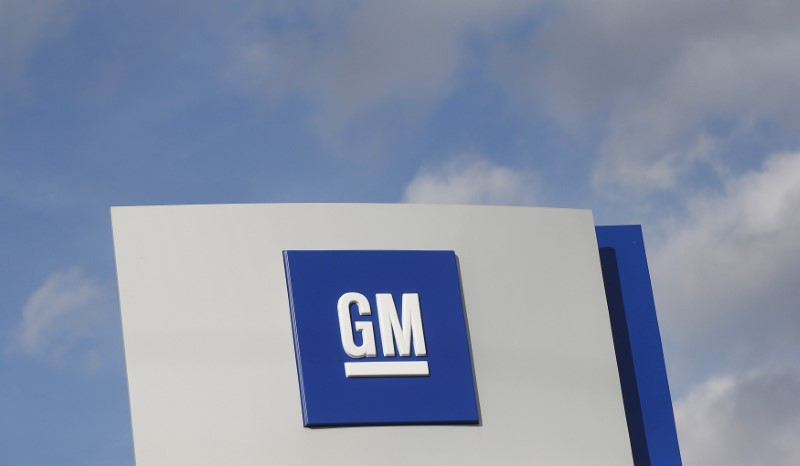 © Reuters. The GM logo in Warren Michigan
