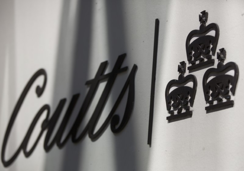 © Reuters. The name of Coutts is seen displayed on a branch of the bank in central London
