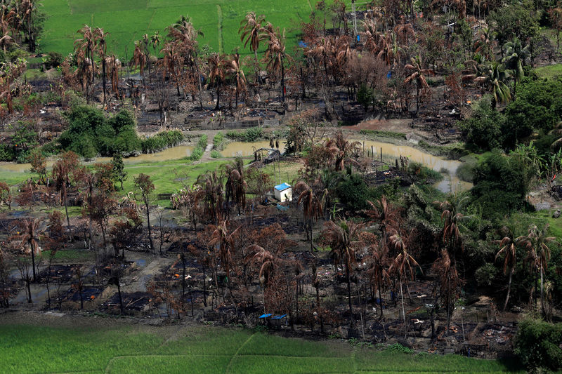 © Reuters. Aerial view of a burned Rohingya village near Maungdaw, north of Rakhine state, Myanmar