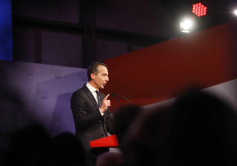 © Reuters. SPOe top candidate Kern attends his party's final election campaign rally in Vienna