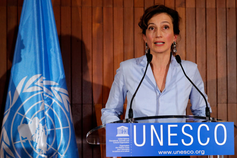 © Reuters. France's Audrey Azoulay, the newly-elected Director-General of the United Nations Educational, Scientific and Cultural Organization (UNESCO), speaks to the media at UNESCO headquarters in Paris