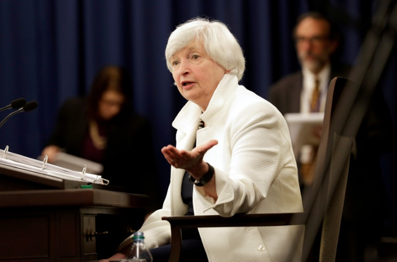 © Reuters. us-FILE PHOTO: Federal Reserve Chairman Janet Yellen speaks during a news conference after a two-day Federal Open Markets Committee (FOMC) policy meeting in Washington