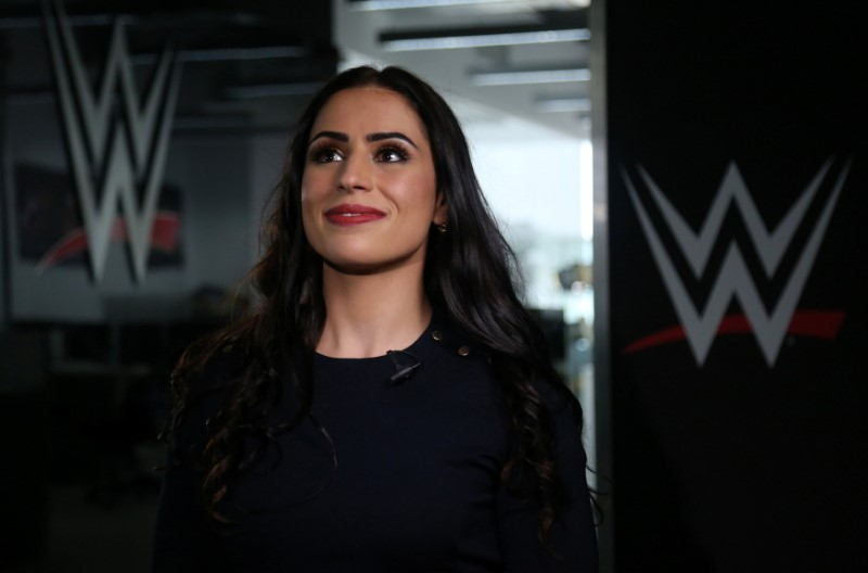 © Reuters. Shadia Bseiso, who was signed by World Wrestling Entertainment Inc. as its first female performer from the Arab world, poses for a photo during an interview with Reuters in Dubai