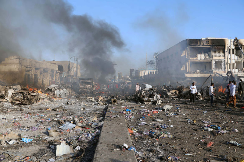 © Reuters. General view shows the scene of explosion in the Hodan district of Mogadishu