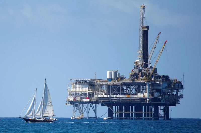 © Reuters. FILE PHOTO: Offshore oil platform is seen in Huntington Beach
