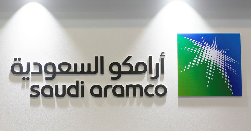 © Reuters. FILE PHOTO: Logo of Saudi Aramco is seen at the 20th Middle East Oil & Gas Show and Conference (MOES 2017) in Manama