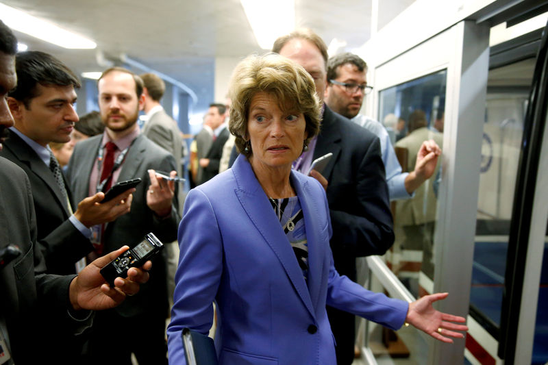© Reuters. FILE PHOTO: Senator Murkowski (R-AK) speaks to reporters after the Senate approved $15.25 billion in aid for areas affected by Hurricane Harvey in Washington