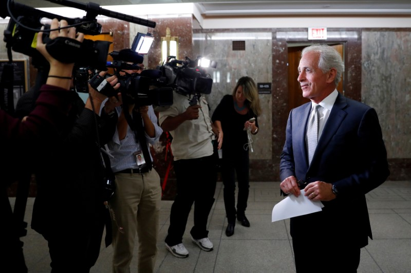 © Reuters. Sen. Bob Corker (R-TN) speaks with reporters after announcing his retirement at the conclusion of his term on Capitol Hill in Washington