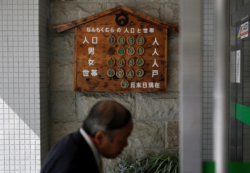 © Reuters. Numbers of population and households are displayed at the entrance of village office in Nanmoku Village