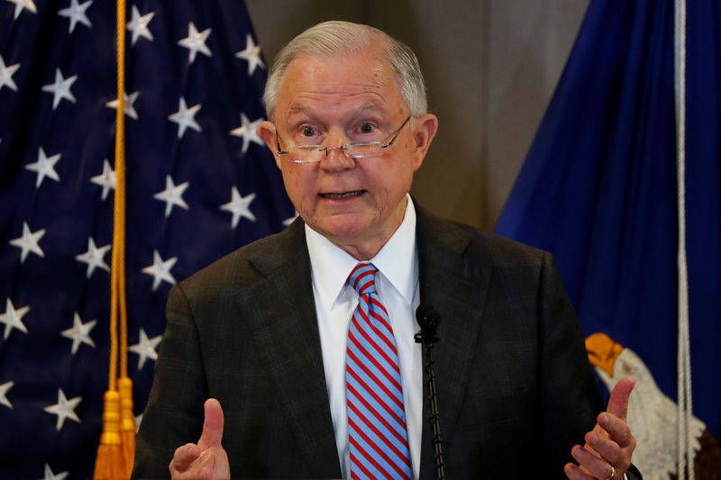 © Reuters. Sessions delivers remarks on the U.S. system for asylum-seekers at the Executive Office for Immigration Review in Falls Church, Virginia