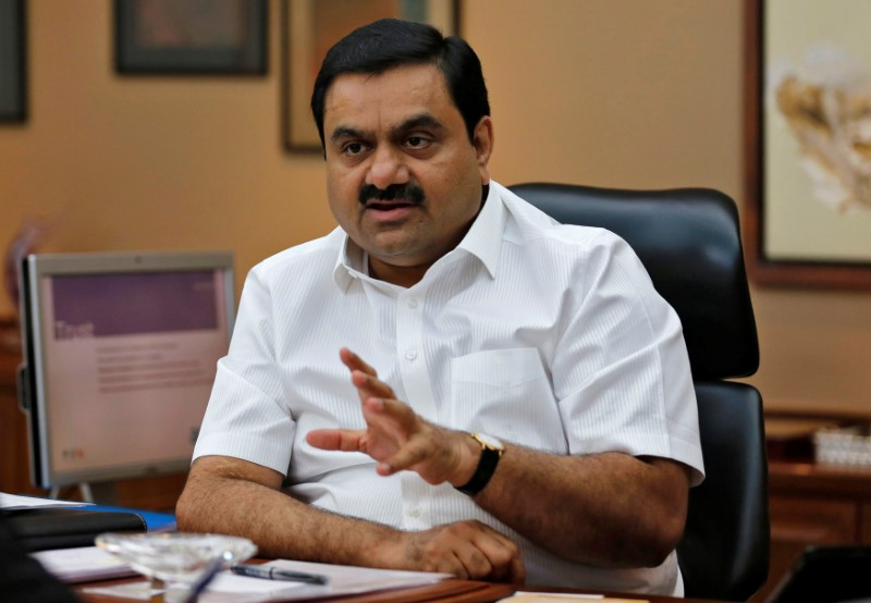 © Reuters. FILE PHOTO: Indian billionaire Adani speaks during an interview with Reuters at his office in Ahmedabad