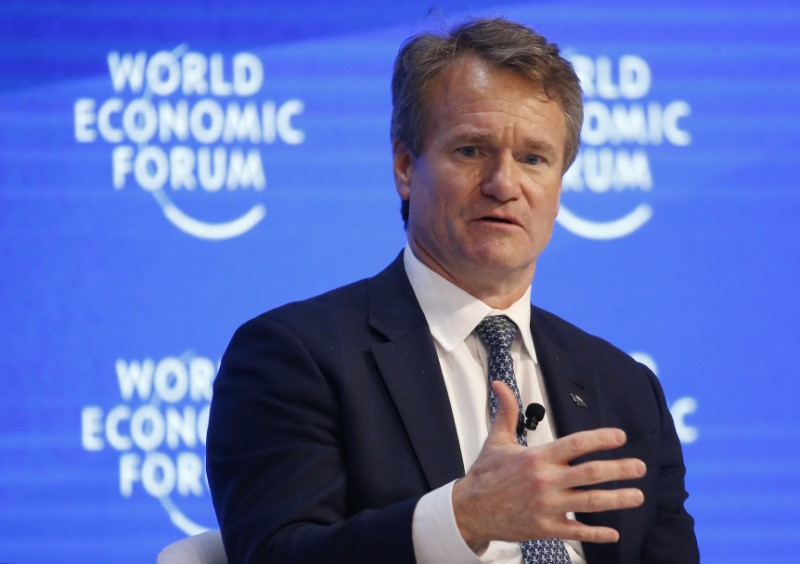 © Reuters. FILE PHOTO: Moynihan Chairman of the Board and CEO of Bank of America attends the WEF annual meeting in Davos