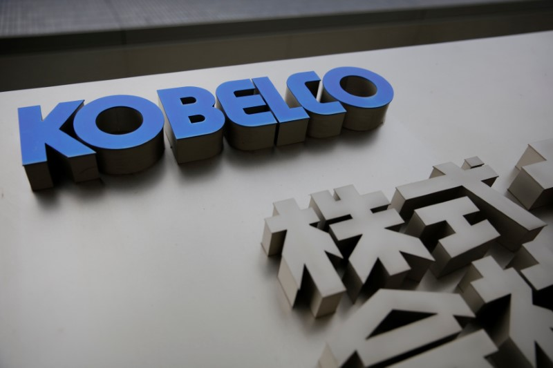 © Reuters. The logo of Kobe Steel Kobelco is seen at the company headquarters in Kobe