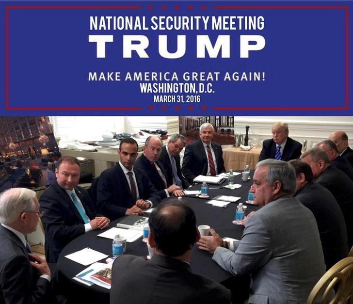 © Reuters. George Papadopoulos appears in a photograph released on Donald Trump's social media accounts