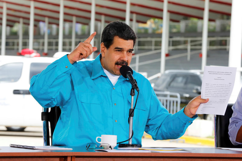 © Reuters. Venezuela's President Nicolas Maduro speaks during an event to handover ambulances for Miranda state government in Caracas