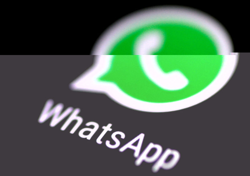 © Reuters. FILE PHOTO: The WhatsApp messaging application is seen on a phone screen