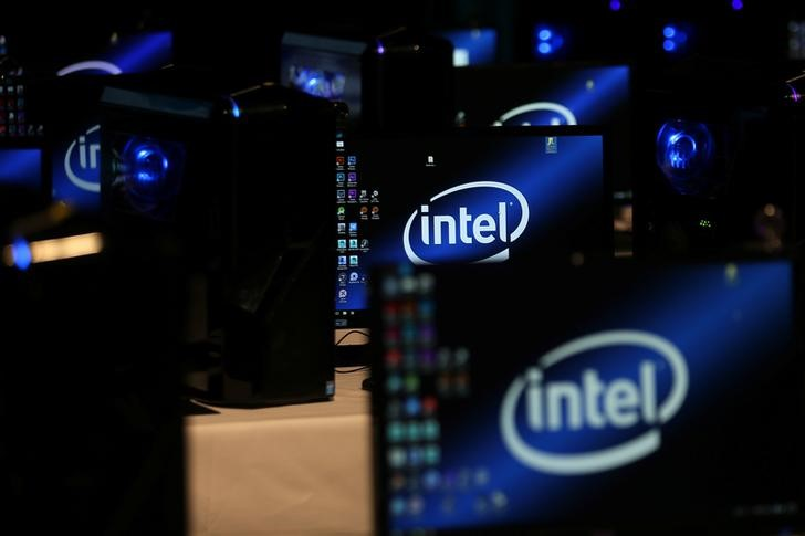 © Reuters. The Intel logo is displayed on computer screens at SIGGRAPH 2017
