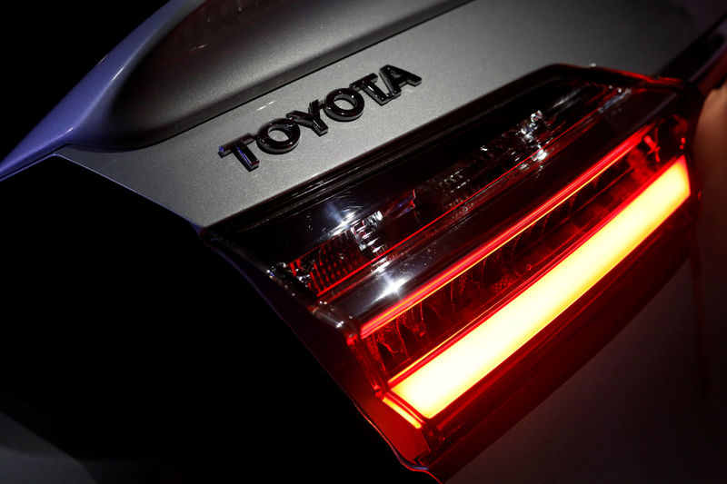 © Reuters. FILE PHOTO: The logo of Toyota Motor Corp. is seen on a company's Corolla car in Caracas